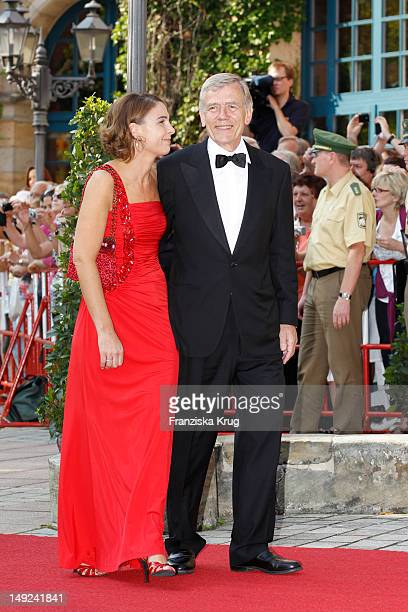 Georg von Waldenfels and his wife arrive for the Bayreuth festival 2012 premiere on July 25 2012 in Bayreuth Germany