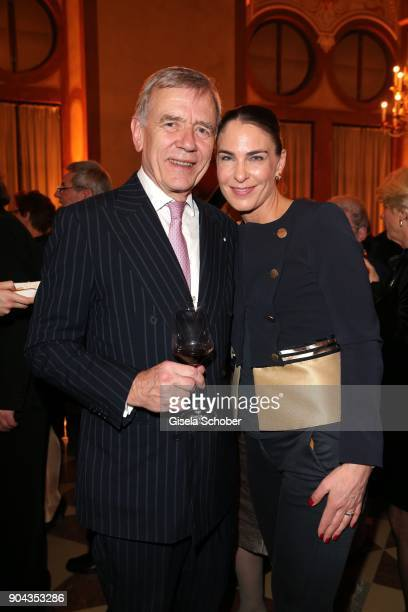 Georg von Waldenfels and his wife Veronika von Waldenfels during the new year reception of the Bavarian state government at Residenz on January 12...
