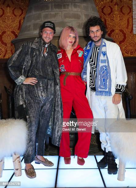 Georg Weissacher Henri Tiefenthaler and Wolfram Amadeus attend the Peoples Of All Nations London Fashion Week September 2017 party at Holmwood on...