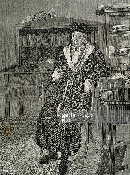Georg Wilhelm Friedrich Hegel German philosopher Hegel in his study Portrait Engraving by R Cremer