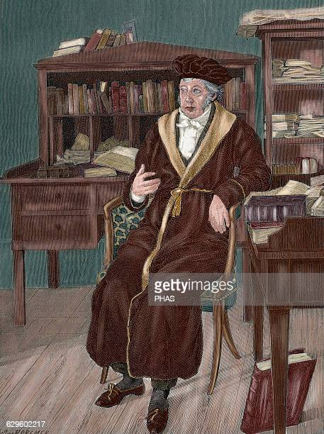 Georg Wilhelm Friedrich Hegel German philosopher Hegel in his study Portrait Engraving by R Cremer Colored