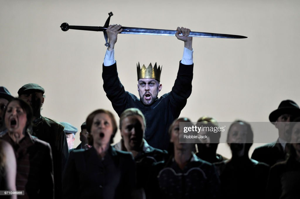 Georg Zeppenfeld as King Heinrich with artists of the company in Richard Wagner's Lohengrin directed by David Alden and conducted by Andris Nelsons at the Royal Opera House on June 4, 2018 in London, England.