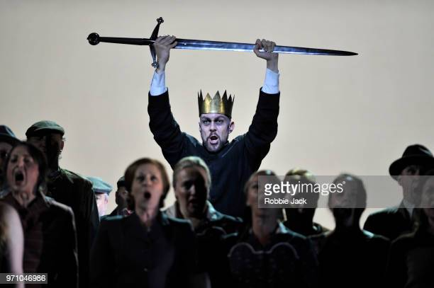 Georg Zeppenfeld as King Heinrich with artists of the company in Richard Wagner's Lohengrin directed by David Alden and conducted by Andris Nelsons...