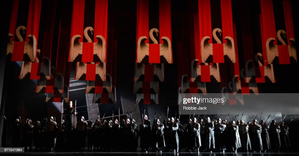 30**Georg Zeppenfeld as King Heinrich with artists of the company in Richard Wagner's Lohengrin directed by David Alden and conducted by Andris Nelsons at the Royal Opera House on June 4, 2018 in London, England.