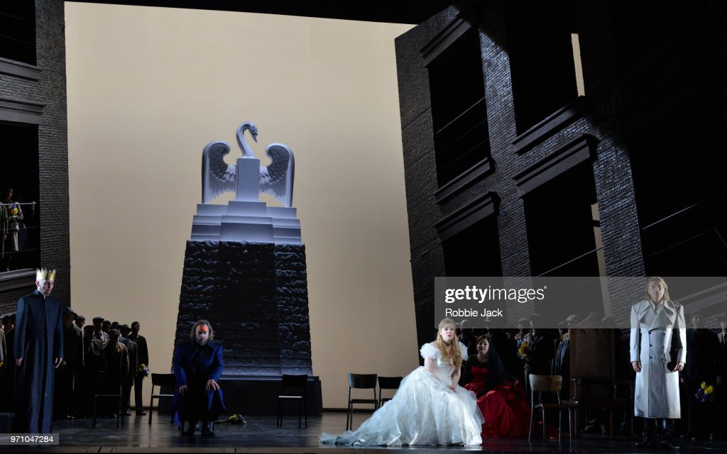 30**Georg Zeppenfeld as King Heinrich,Thomas J.Mayer as Friedrich von Telramund, Jennifer Davis as Elsa von Brabant, Christine Goerke as Ortrud and Klaus Florian Vogt as Lohengrin with artists of the company in Richard Wagner's Lohengrin directed by David Alden and conducted by Andris Nelsons at the Royal Opera House on June 4, 2018 in London, England.