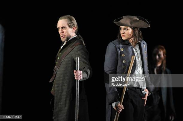 Georg Zeppenfeld as Rocco and Lise Davidsen as Leonore in the Royal Opera's production of Beethoven's Fidelio directed by Tobias Kratzer and...