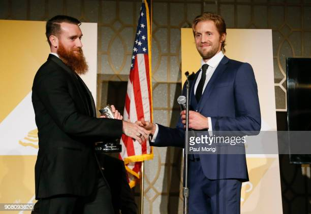 George A Chewning II Director of Governmental Affairs Global on Terror Memorial Foundation is presented a Vetty Award by actor Matt Barr during the...