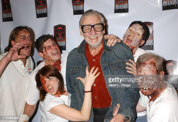 George A Romero and zombies during Launch Celebration for Anthology Series 'Masters of Horror' Arrivals at Element in Hollywood California United...