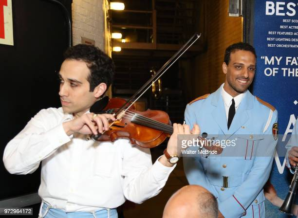 George Abud and AriÕel Stachel with the Alexandria Ceremonial Police Orchestra during 'The Band's Visit' postshow jam celebrating the 10 time Tony...