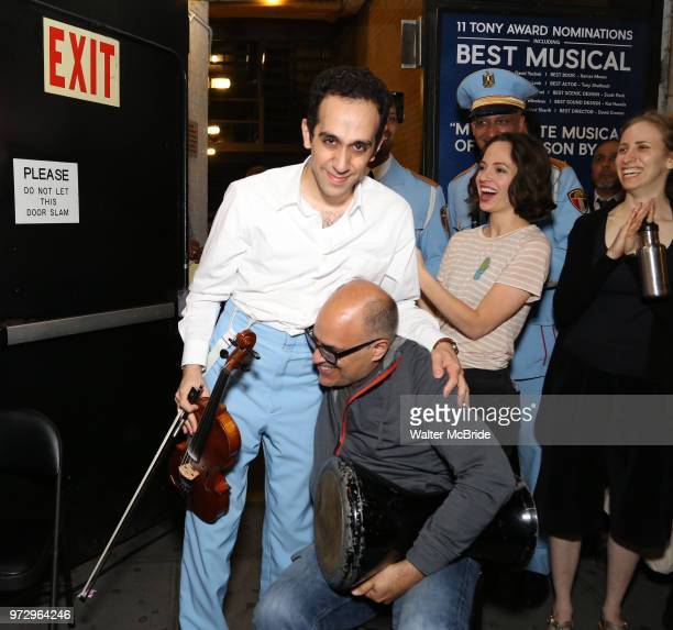 George Abud and David Yazbek with the Alexandria Ceremonial Police Orchestra during 'The Band's Visit' postshow jam celebrating the 10 time Tony...