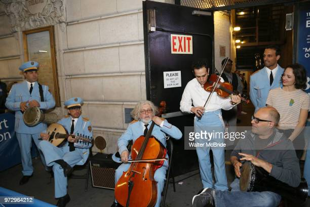 George Abud AriÕel Stachel and David Yazbek with the Alexandria Ceremonial Police Orchestra during 'The Band's Visit' postshow jam celebrating the 10...