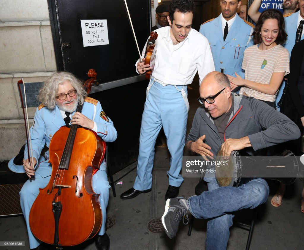 George Abud, AriÕel Stachel and David Yazbek with the Alexandria Ceremonial Police Orchestra during 'The Band's Visit' post-show jam celebrating the 10 time Tony Award winning best musical at the Barrymore Theatre on June 12, 2018 in New York City.