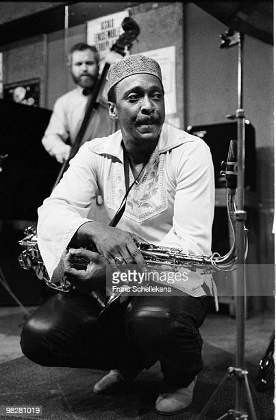 George Adams plays tenor sax at Bim Haus in Amsterdam, Netherlands on March 24 1983. Bass player Cameron Brown behind