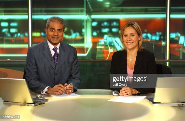 George Alagiah and Sophie Raworth on the set of the Six O'Clock News