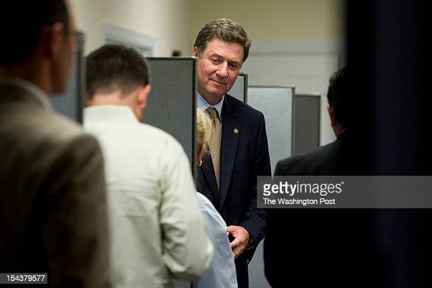 George Allen former Virginia governor and US senator makes a campaign stop at Tart Lumber on Wednesday June 20 in Sterling VA Allen who recently won...