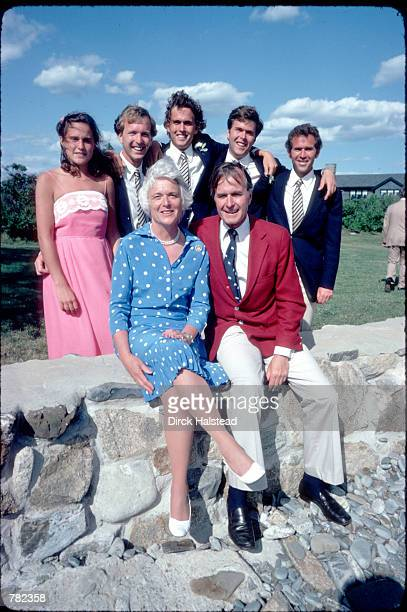 George and Barbara Bush pose for a picture with their children Dorothy Neil Marvin Jeb and George July 1 1980 in Kennebunkport Maine On January 20...