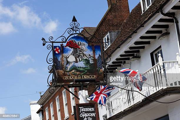 george and dragon public house at westerham, kent - st george flag stock photos and pictures