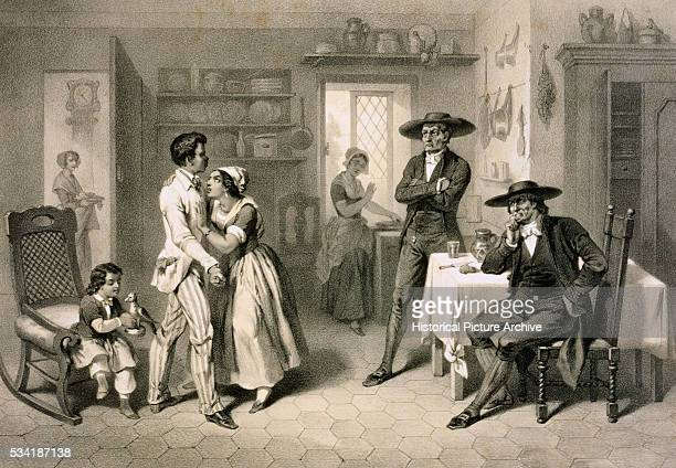 'George and Eliza with the Quakers Engraving by Adolphe JeanBaptiste Bayot and Charles Bour from Uncle Tom's Cabin by Harriet Beecher Stowe '