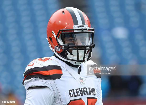George Atkinson III of the Cleveland Browns warms up before the start of NFL game action against the Buffalo Bills at New Era Field on December 18...