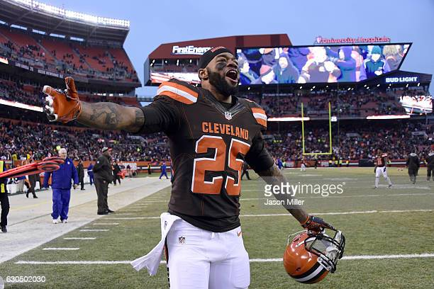 George Atkinson of the Cleveland Browns celebrates after defeating the San Diego Chargers 2017 at FirstEnergy Stadium on December 24 2016 in...