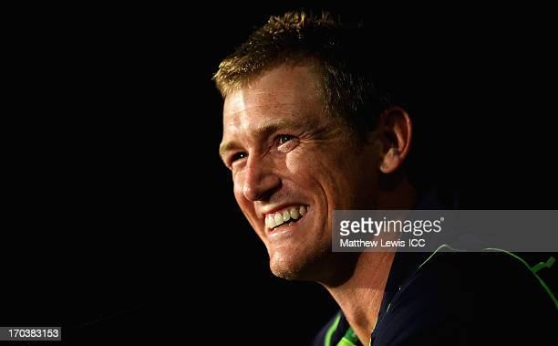 George Bailey, Captain of Australia talks to the media after the ICC Champions Trophy Group A match between Australia and New Zealand at Edgbaston on...