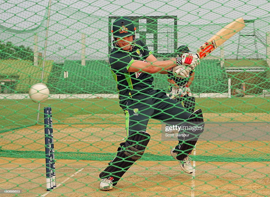 George Bailey of Australia bats during an Australian ICC World Twenty20 Bangladesh 2014 training session at Khan Saheb Osman Ali Stadium on March 26, 2014 in Narayanganj, Bangladesh.