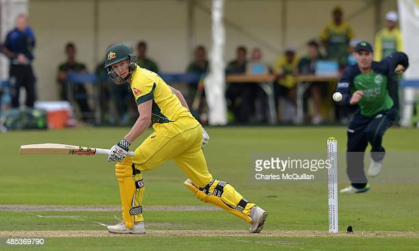 George Bailey of Australia batting during the ODI cricket game between Ireland and Australia at Stormont cricket ground on August 27 2015 in Belfast...