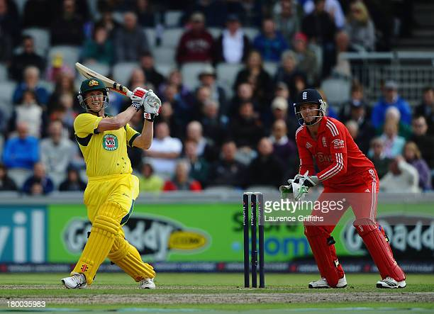 George Bailey of Australia hits out during the 2nd Natwest One Day International between England and Australia at Old Trafford on September 8 2013 in...