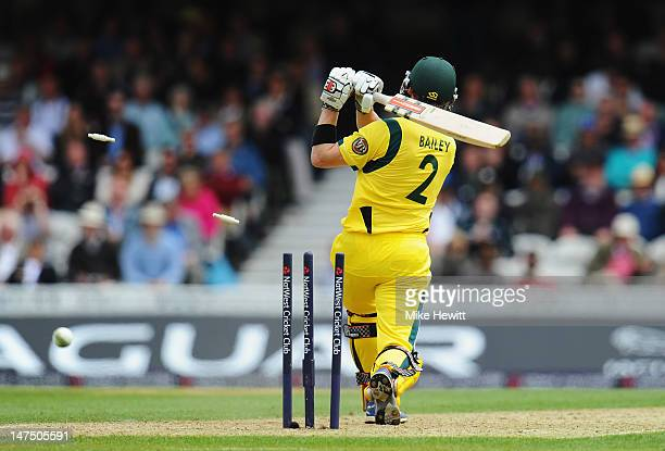 George Bailey of Australia is clean bowled by Tim Bresnan of England during the 2nd Natwest One Day International Series between England and...