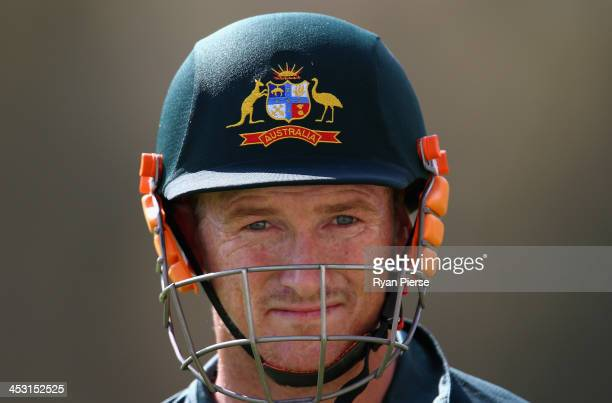 George Bailey of Australia looks on during an Australia Nets Session at Adelaide Oval on December 3, 2013 in Adelaide, Australia.
