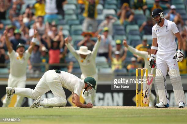 George Bailey of Australia takes a catch to dismiss James Anderson of England to win the game and claim a 30 series win on day five of the Third...