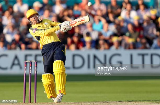 George Bailey of Hampshire plays an awkward stroke during the Essex v Hampshire NatWest T20 Blast cricket match at the Cloudfm County Ground on July...