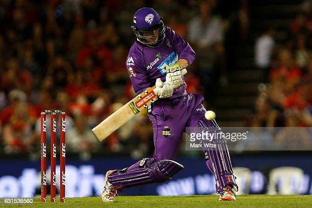 George Bailey of Hobart Hurricanes hits a six during the Big Bash League match between the Melbourne Renegades and the Hobart Hurricanes at Etihad...