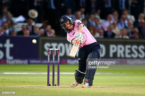 George Bailey of Middlesex hits out during the NatWest T20 Blast match between Middlesex and Surrey at Lord's Cricket Ground on July 21 2016 in...