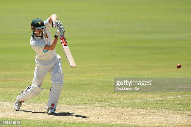 George Bailey of Tasmania bats during day one of the Sheffield Shield match between Western Australia and Tasmania at WACA on October 31 2014 in...