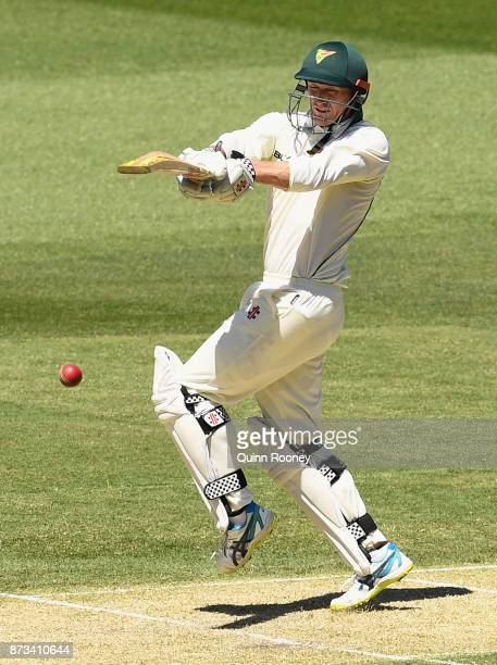 George Bailey of Tasmania bats during day one of the Sheffield Shield match between Victoria and Tasmania at Melbourne Cricket Ground on November 13...