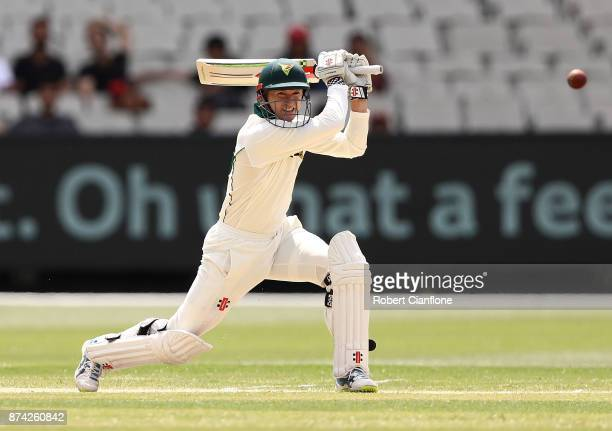 George Bailey of Tasmania bats during day three of the Sheffield Shield match between Victoria and Tasmania at Melbourne Cricket Ground on November...