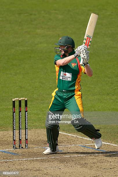 George Bailey of Tasmania bats during the Matador BBQs One Day Cup match between Tasmania and Victoria at North Sydney Oval on October 20 2015 in...