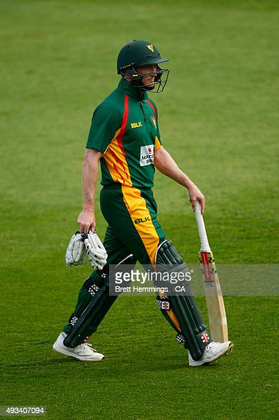 George Bailey of Tasmania leaves the field after being dismissed by Jon Holland of Victoria during the Matador BBQs One Day Cup match between...