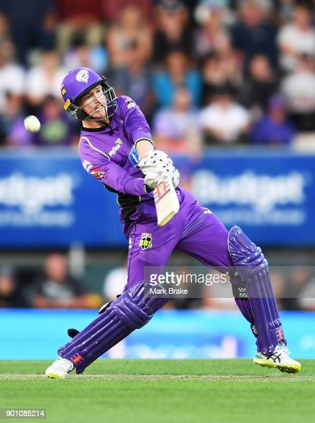 George Bailey of the Hobart Hurricanes hits a catch to Michael Neser of the Adelaide Strikers during the Big Bash League match between the Hobart...