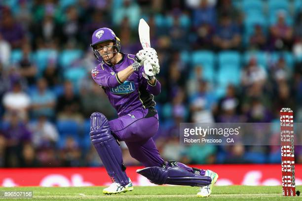 George Bailey of the Hobart Hurricanes plays a shot during the Big Bash League match between the Hobart Hurricanes and the Melbourne Renegades at...