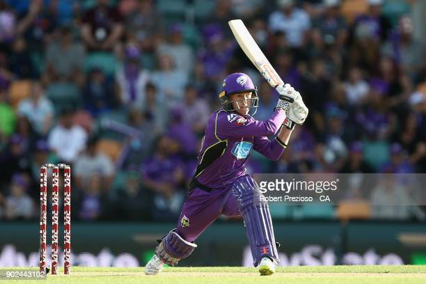 George Bailey of the Hobart Hurricanes plays a shot during the Big Bash League match between the Hobart Hurricanes and the Sydney Sixers at...