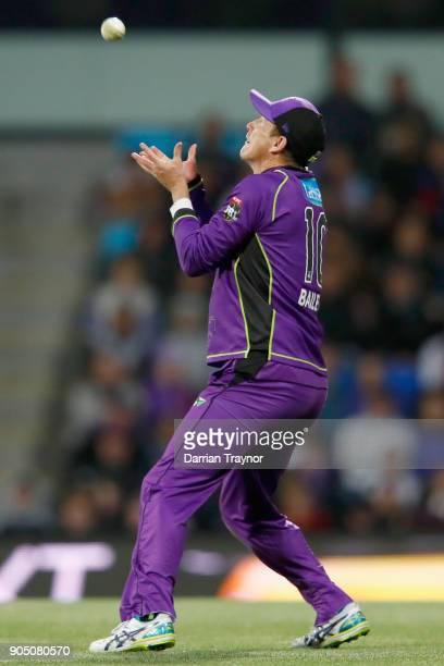 George Bailey of the Hobart Hurricanes takes a catch to dismiss Cameron Gannon of the Brisbane Heat during the Big Bash League match between the...