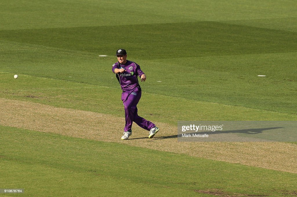 George Bailey of the Hurricanes attempts a runout during the Big Bash League match between the Melbourne Stars and and the Hobart Hurricanes at Melbourne Cricket Ground on January 27, 2018 in Melbourne, Australia.