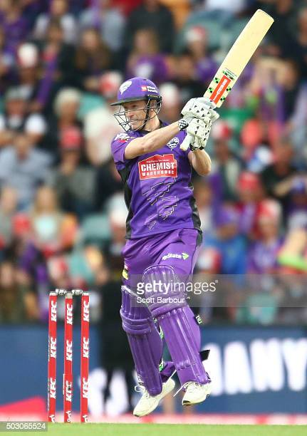 George Bailey of the Hurricanes bats during the Big Bash League match between the Hobart Hurricanes and the Sydney Thunder at Blundstone Arena on...