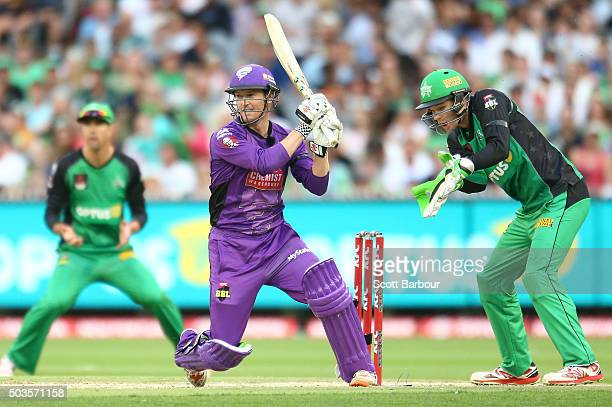 George Bailey of the Hurricanes bats during the Big Bash League match between the Melbourne Stars and the Hobart Hurricanes at the Melbourne Cricket...