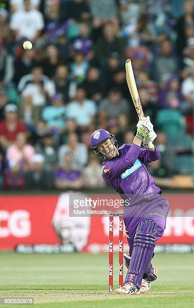 George Bailey of the Hurricanes bats during the Big Bash League match between the Hobart Hurricanes and Sydney Stars at Blundstone Arena on December...