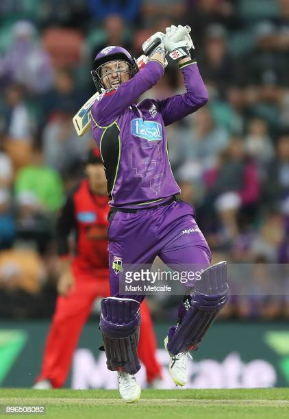 George Bailey of the Hurricanes bats during the Big Bash League match between the Hobart Hurricanes and the Melbourne Renegades at Blundstone Arena...