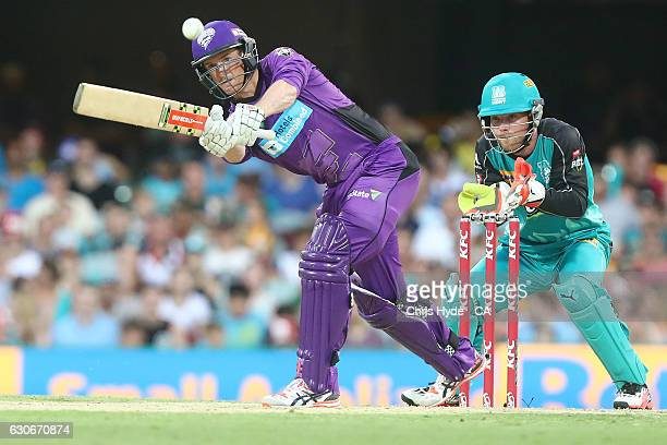 George Bailey of the Hurricanes bats during the Big Bash League between the Brisbane Heat and Hobart Hurricanes at The Gabba on December 30 2016 in...