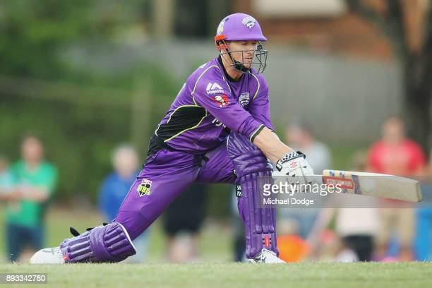 George Bailey of the Hurricanes bats during the Twenty20 BBL practice match between the Melbourne Stars and the Hobart Hurricanes at Traralgon...